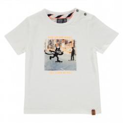 T-shirt Cat on skate blanc...